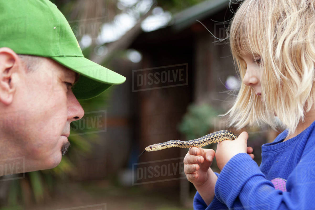 Father and daughter holding a gopher snake in the garden Royalty-free stock photo