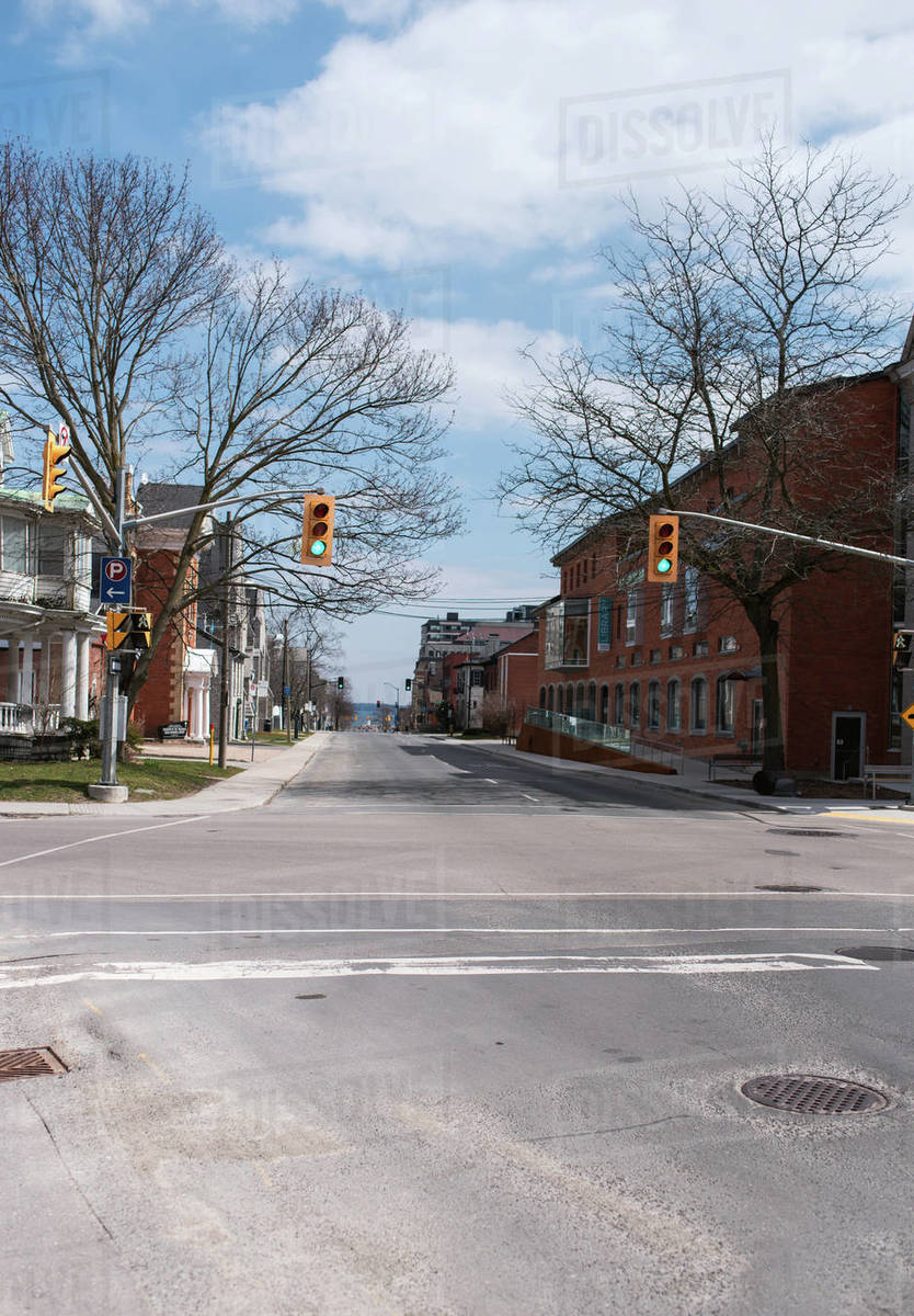 Empty city streets in Kingston, Ontario during Covid 19 pandemic. Royalty-free stock photo