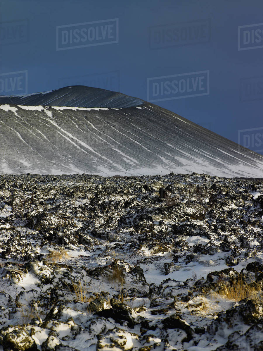 The volcano Hverfjall at lake Myvatn in north Iceland Royalty-free stock photo