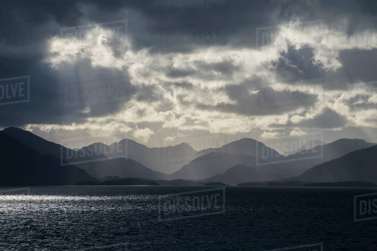 Dramatic sky in the Patagonian fjords Royalty-free stock photo