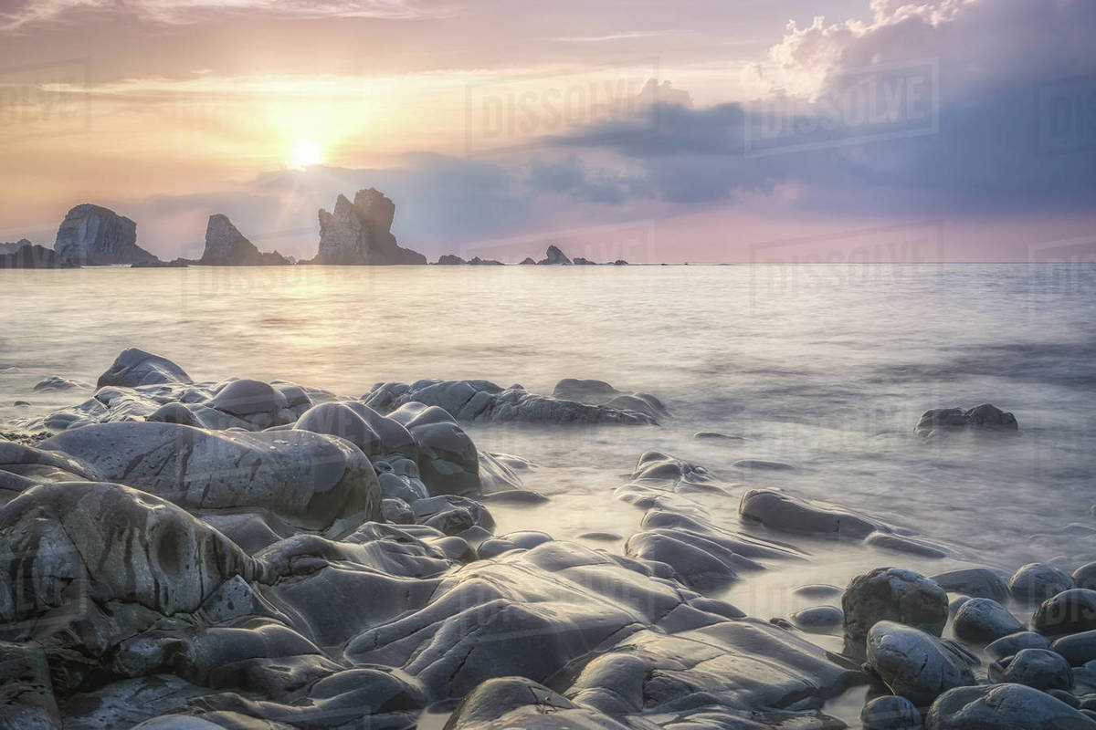 Long exposure of a beautiful sunset over the sea Royalty-free stock photo