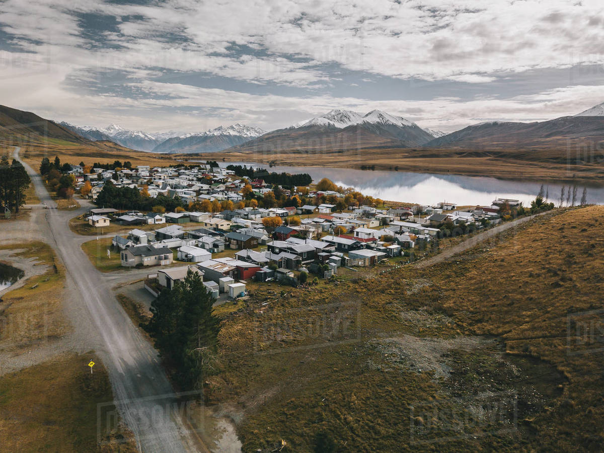 Lake Clearwater village with the Southern Alps in the background. NZ Royalty-free stock photo