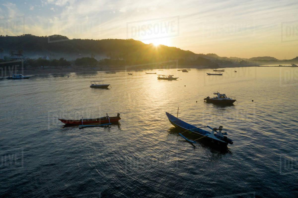 Sunrise over the fishing village of Kuta, Lombok, Indonesia. Royalty-free stock photo