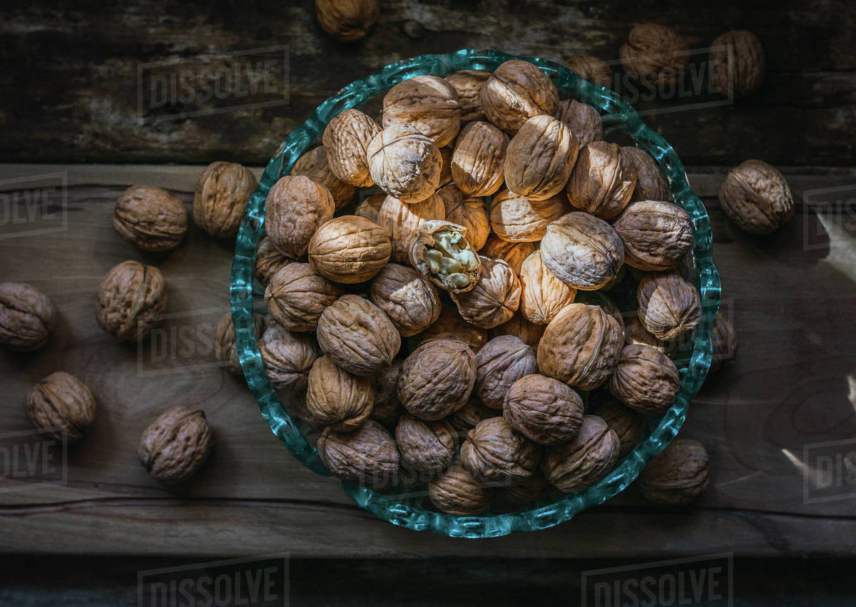 Walnuts in a glass bowl Royalty-free stock photo