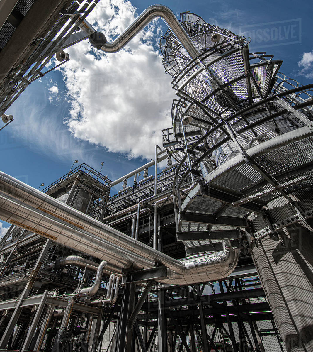 Natural gas processing plant structures with blue sky Royalty-free stock photo