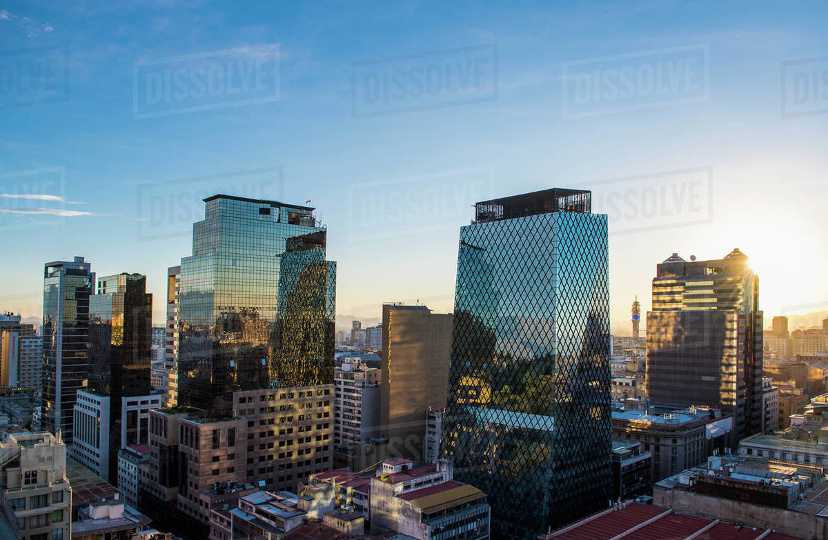Financial district of Santiago de Chile in the evening Royalty-free stock photo
