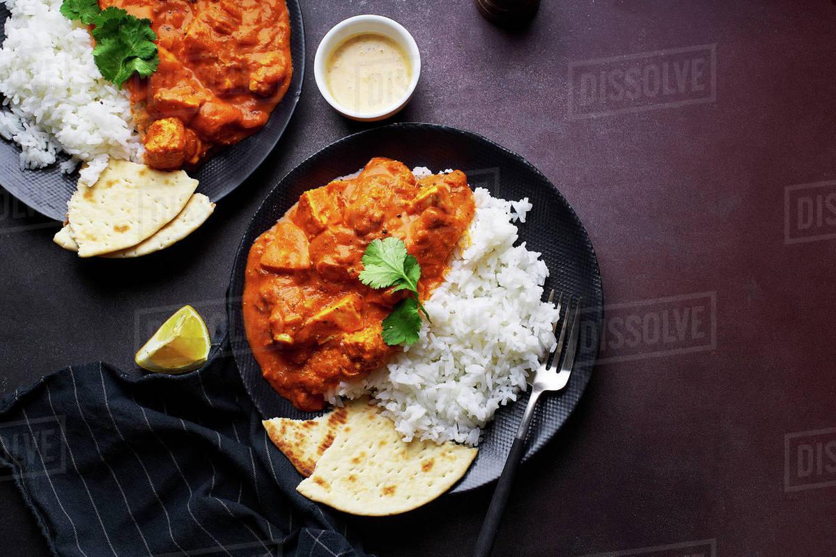 Paneer tikka masala served with basmati rice Royalty-free stock photo