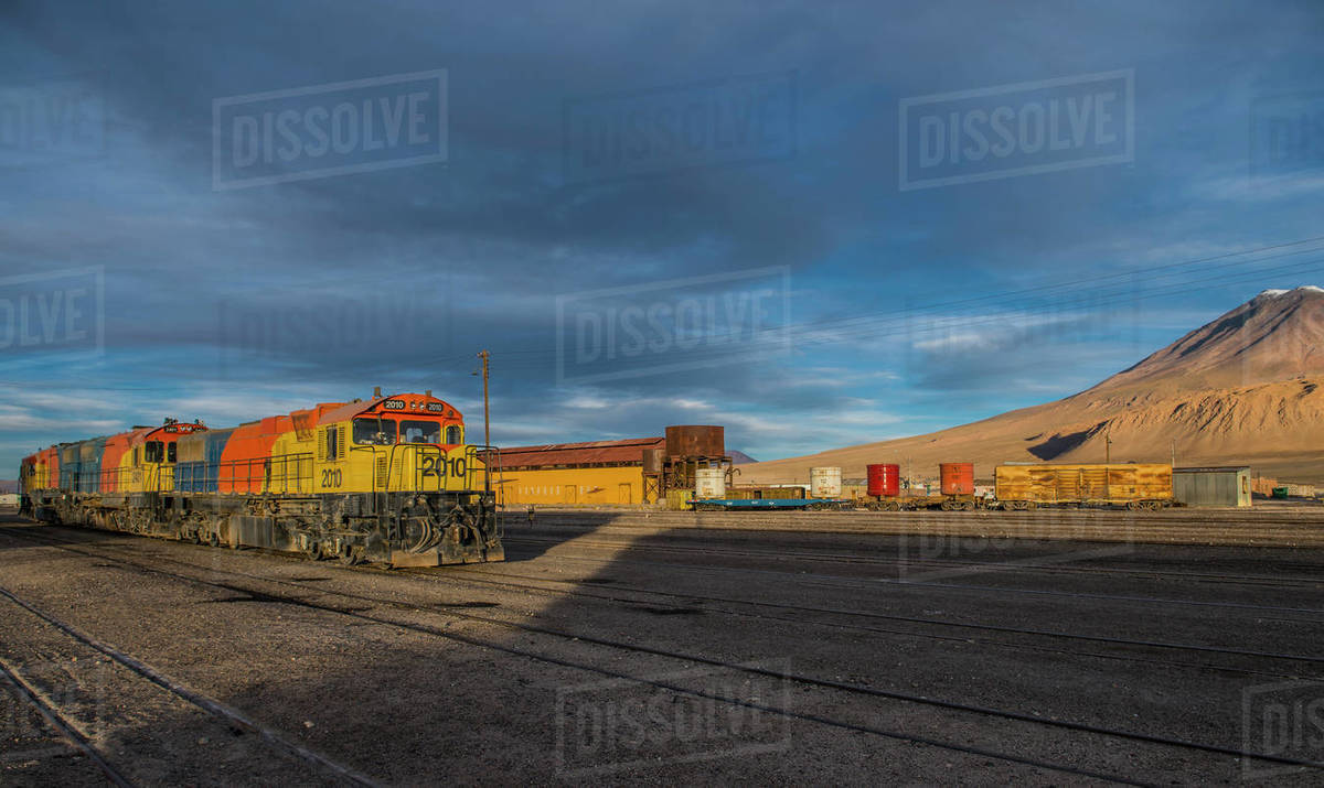 Train in the border town of Ollague between Chile and Bolivia Royalty-free stock photo