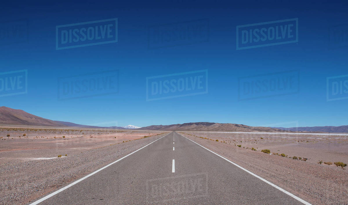 Lonely highway in the Atacama desert / Chile Royalty-free stock photo