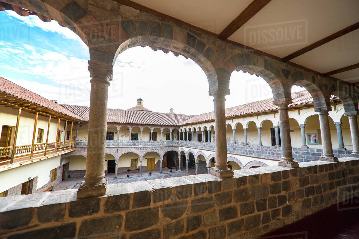 Colonial courtyard in the old town of Cusco in Peru Royalty-free stock photo