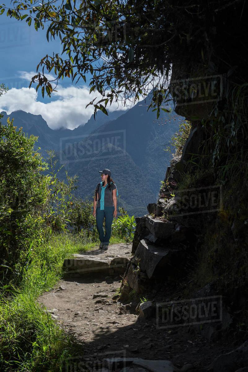 Woman hiking on the Inca Trail close to Machu Picchu Royalty-free stock photo