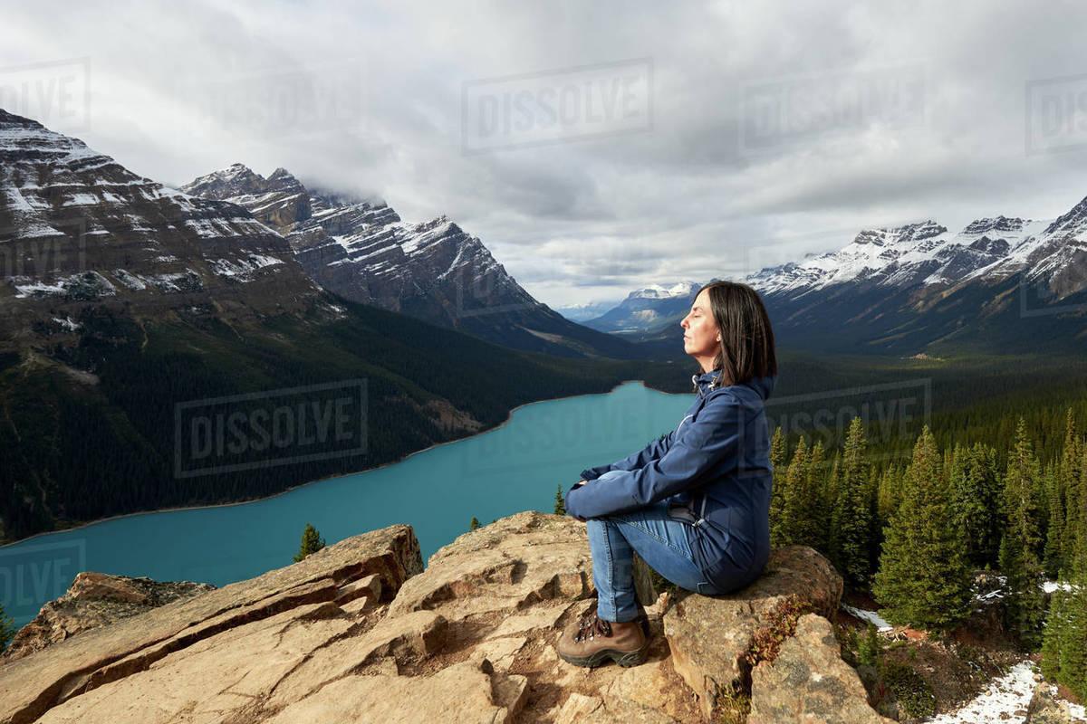 Girl Enjoying The View On A Hike At Peyto Lake, Banff National Park Royalty-free stock photo
