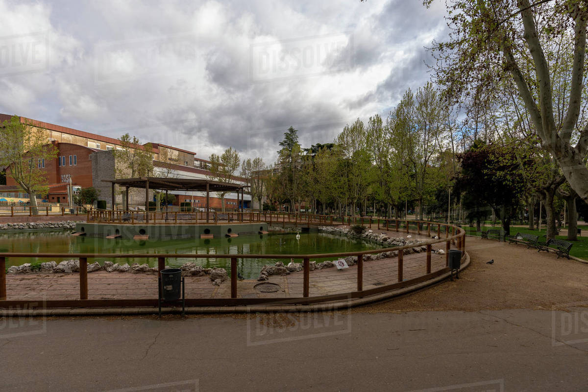 Main park Salamanca without people and neither cars during the quara Royalty-free stock photo