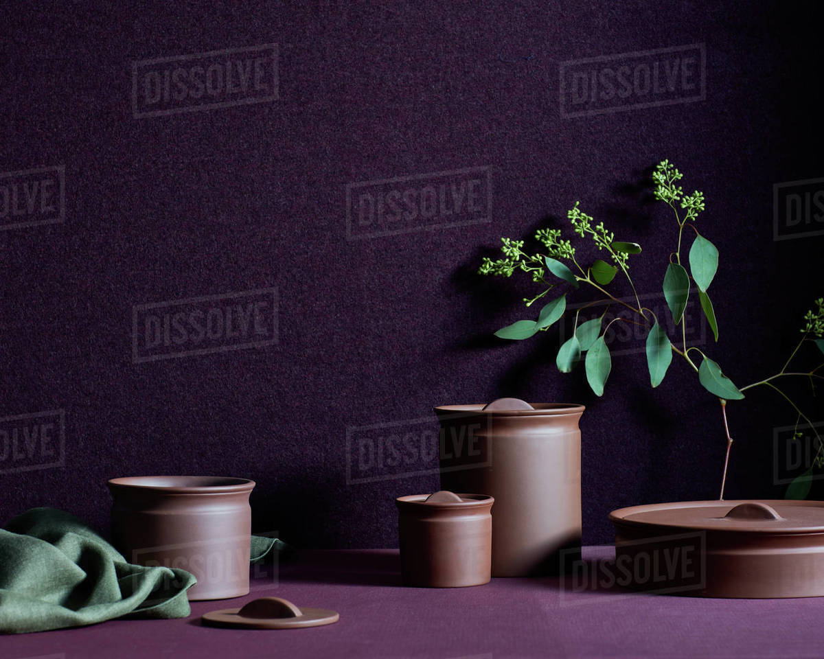 Still life with pottery jars, fabric, branch Royalty-free stock photo