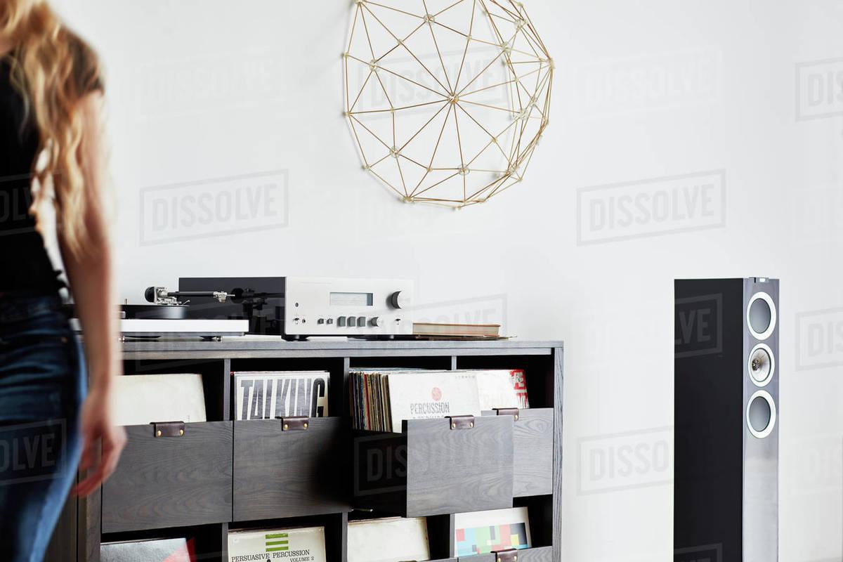 Custom stereo cabinet and vinyl storage Royalty-free stock photo