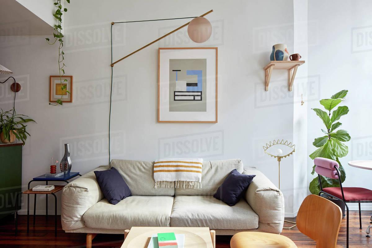 Livingroom interior in designer's eclectic studio loft Royalty-free stock photo