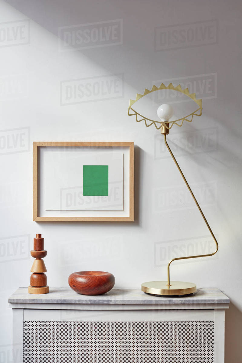 Detail of modern objects on radiator in loft Royalty-free stock photo