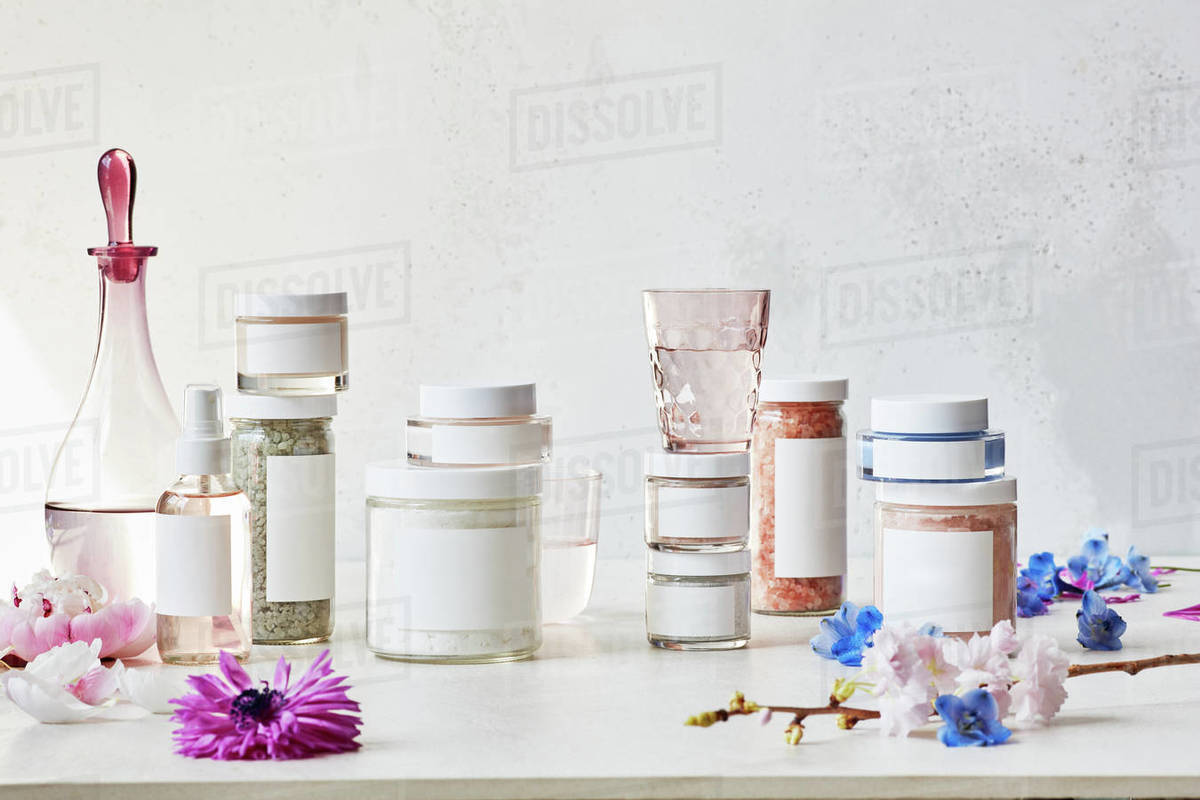 Collection of bath salts with flowers Royalty-free stock photo