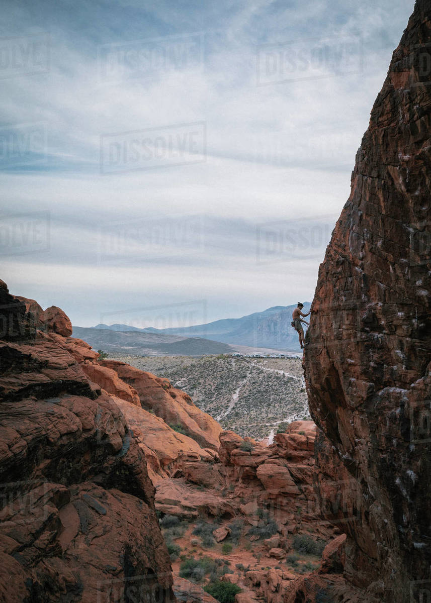 Climber up high on a wall in Red Rock Canyon Royalty-free stock photo