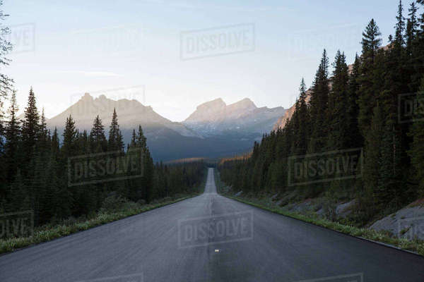 Country road leading towards mountains on sunny day Royalty-free stock photo