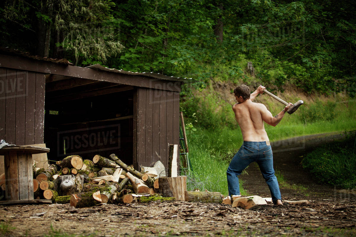 Man Chopping Wood With Axe By Lake Stock Photo Dissolve