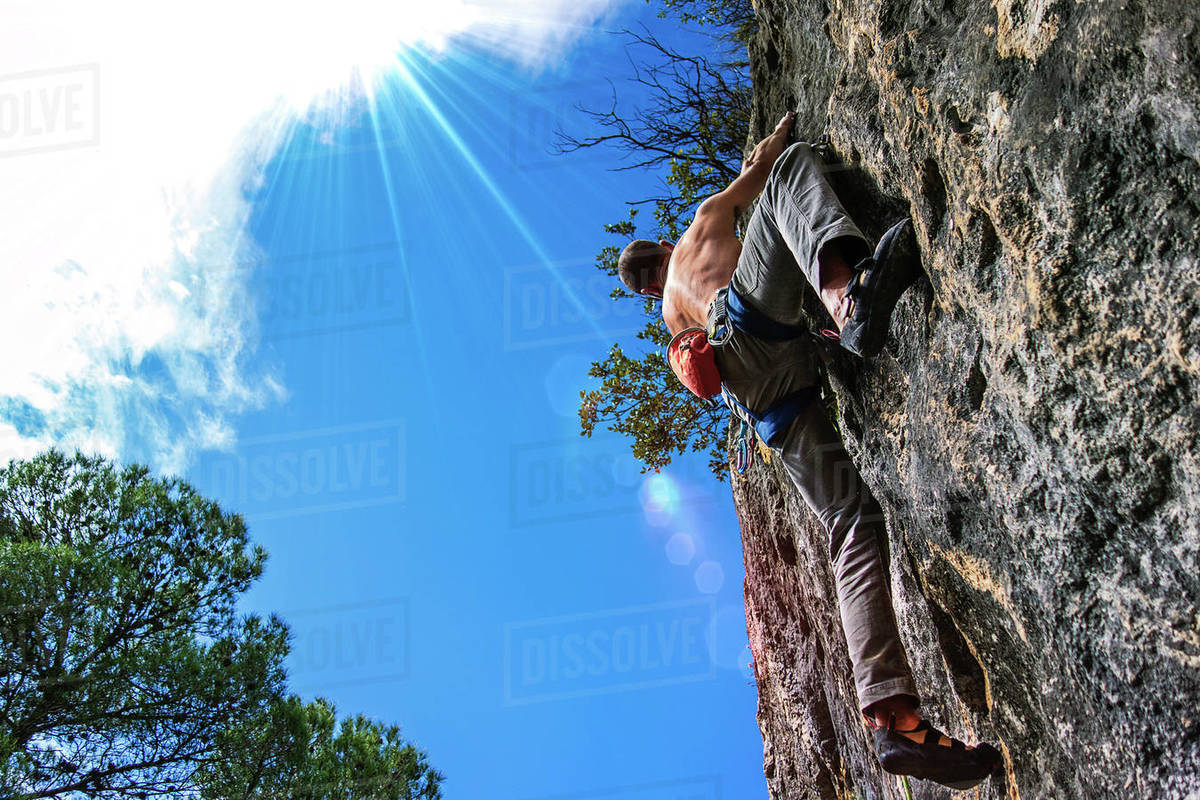 The climber is going up in the way to the summit Royalty-free stock photo