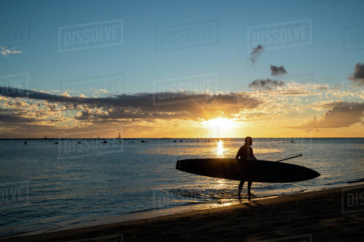 Stand up Paddler walks out of hawaii ocean at sunset Royalty-free stock photo