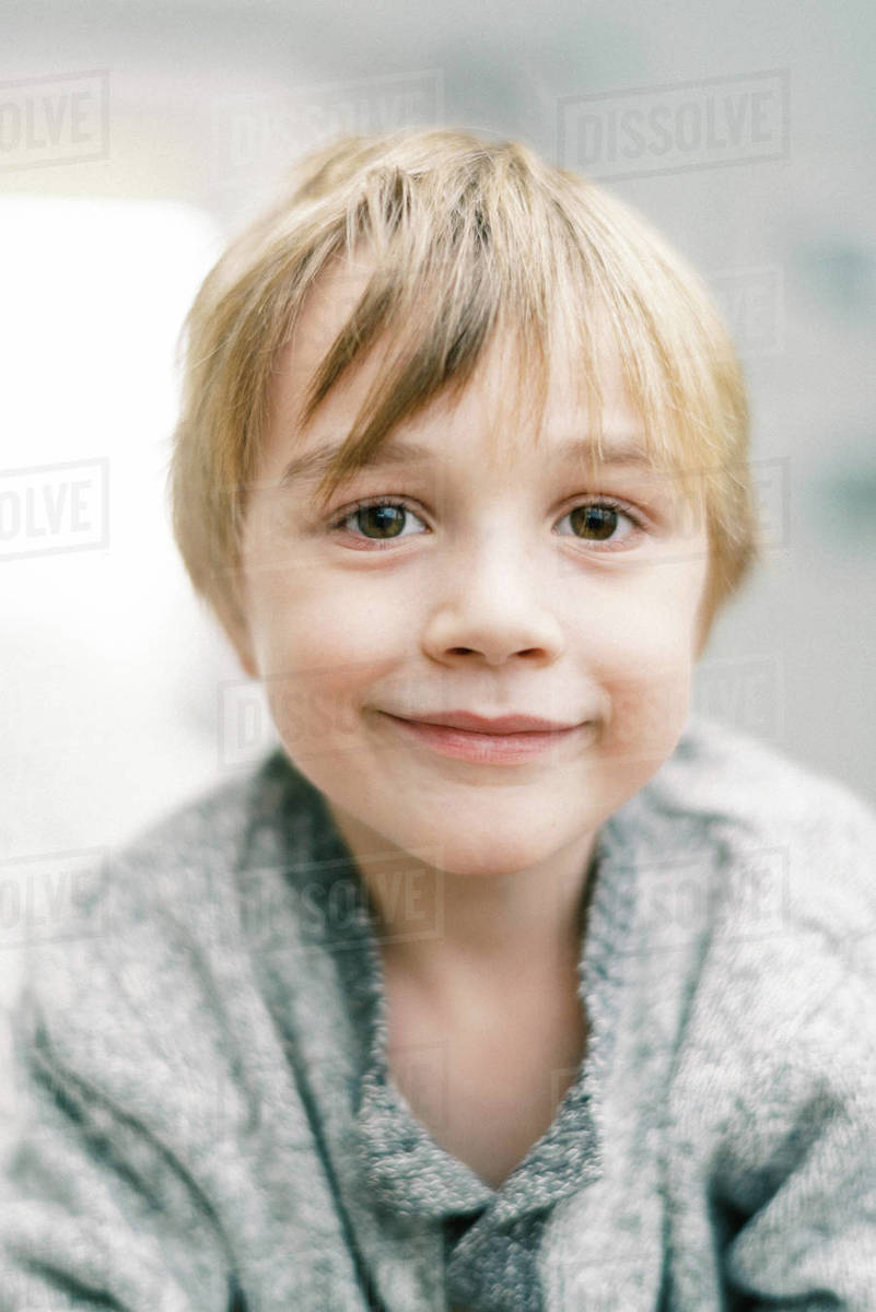 Portrait of a little blonde boy with a neutral expression Royalty-free stock photo