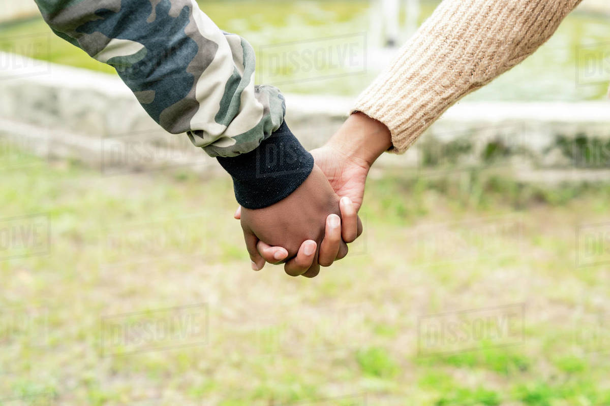 African couple in love holding hands Royalty-free stock photo