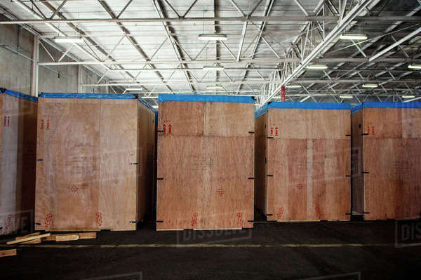 Wooden boxes in factory Royalty-free stock photo
