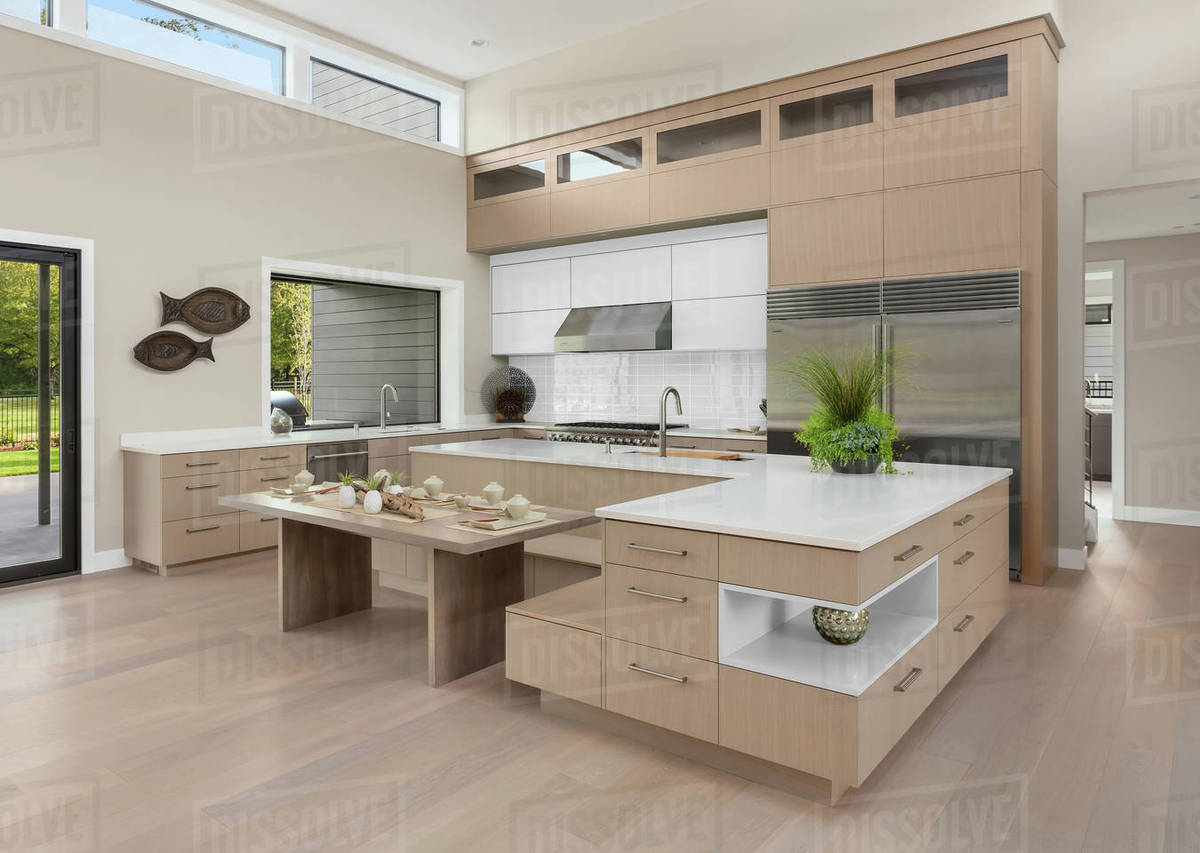 Large kitchen in New Contemporary Style Luxury Home Royalty-free stock photo