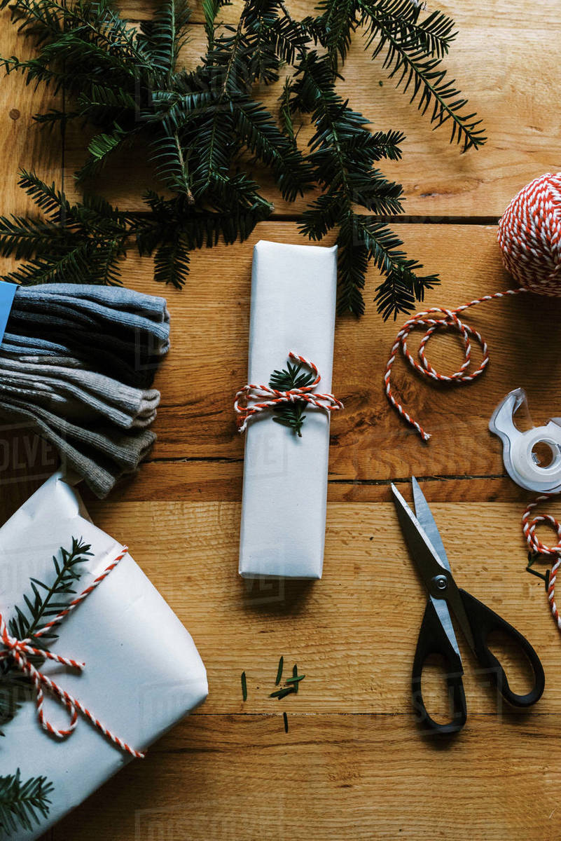 Photo of conscious Christmas and birthday present wrapping Royalty-free stock photo