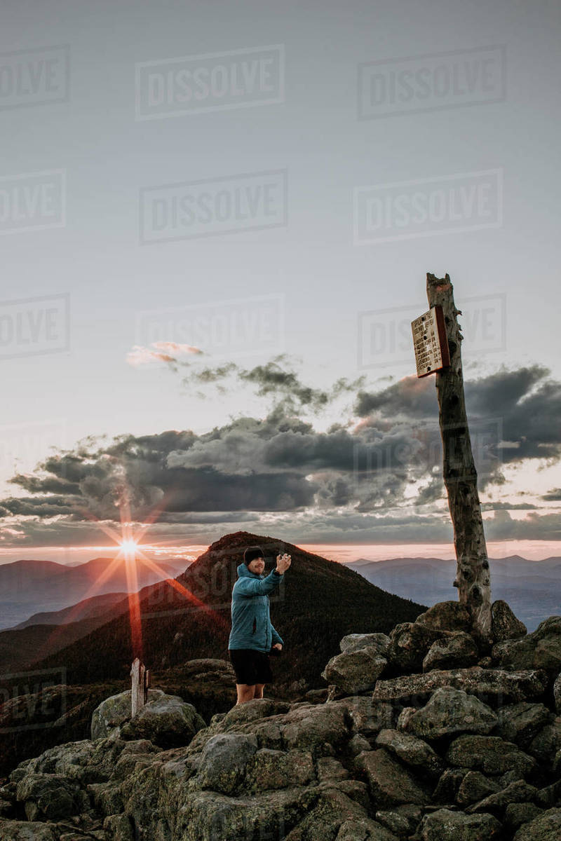 Male hiker takes selfie from summit of Bigelow Mountain, Maine Royalty-free stock photo