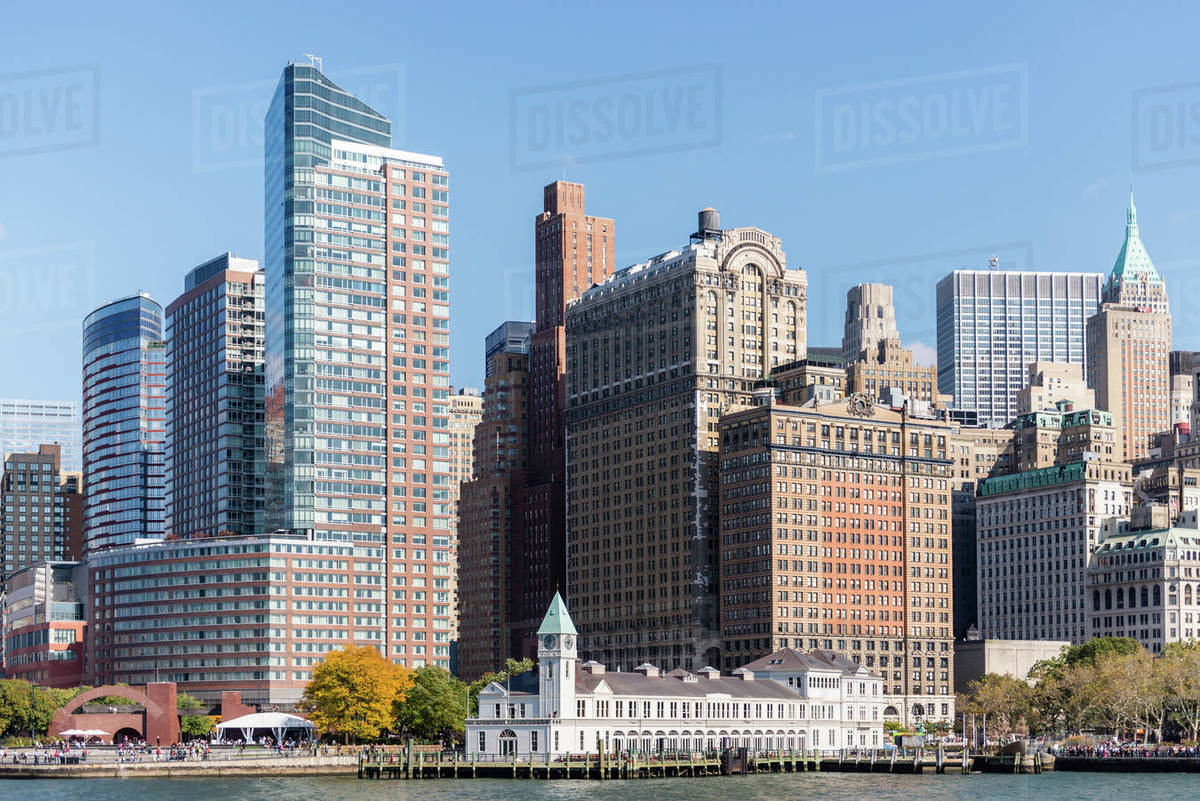 View from the Hudson River of Battery Park and southern Manhattan Royalty-free stock photo