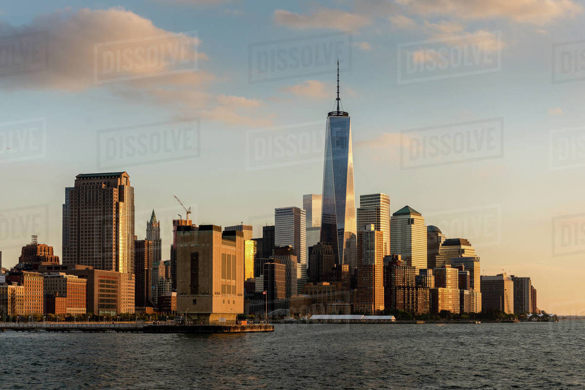 Lower Manhattan and WTC skyline area at golden hour in Manhattan Royalty-free stock photo