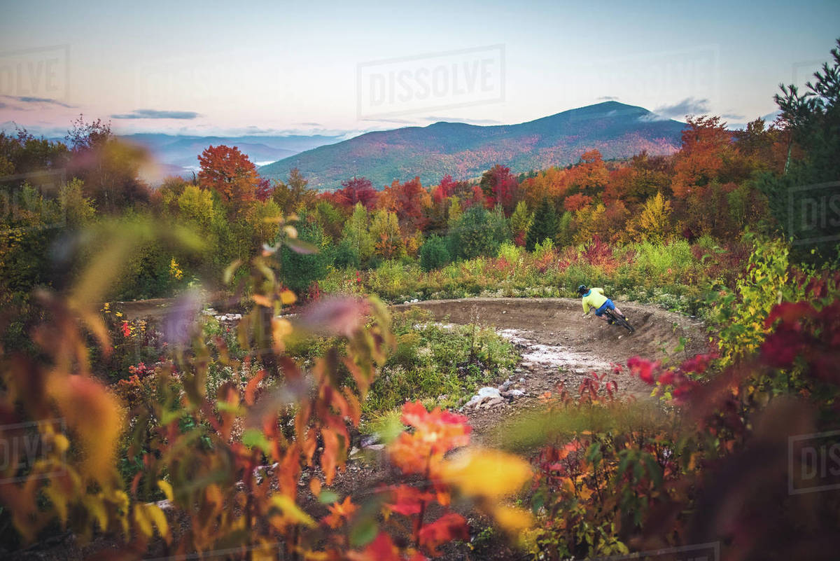 Male mountain-biking down berms during fall foliage season Royalty-free stock photo