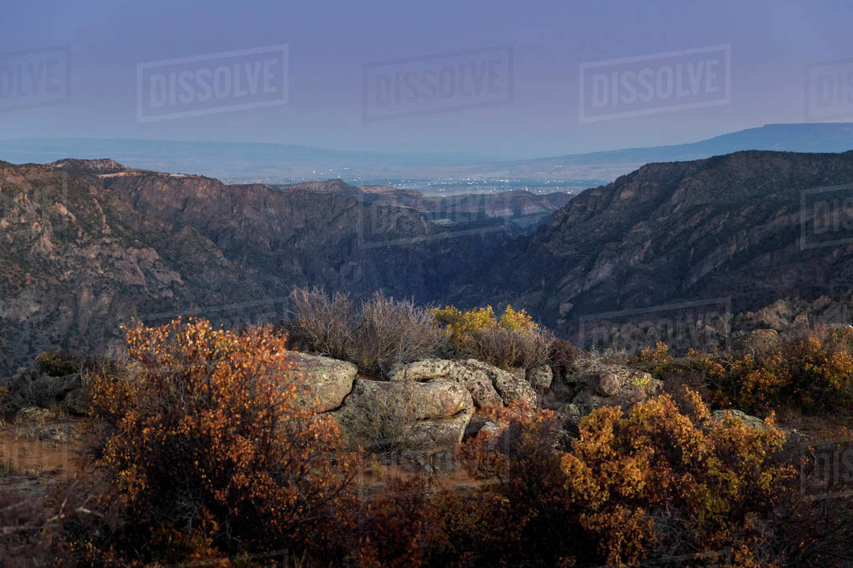 Black Canyon of the Gunnison National Park in Colorado at blue hour Royalty-free stock photo
