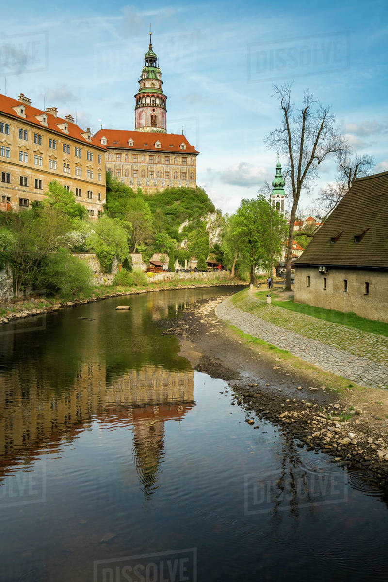 Cesky Krumlov Castle and Chateau with tower Royalty-free stock photo