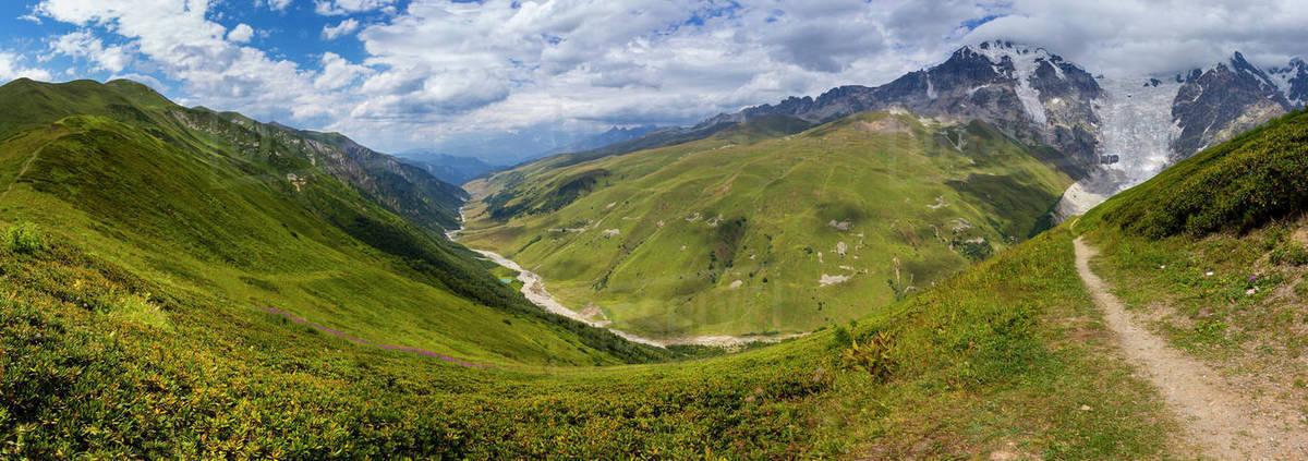 Valley of Adishchala river and Tetnuldi Glacier in summer Royalty-free stock photo