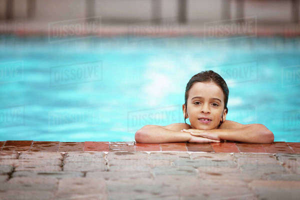 Portrait of wet boy at poolside Royalty-free stock photo