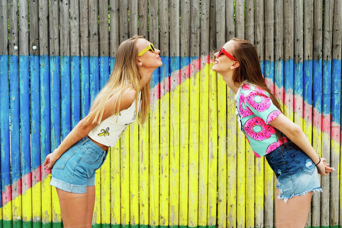 Cheerful female friends standing face to face against bamboo fence stock  photo