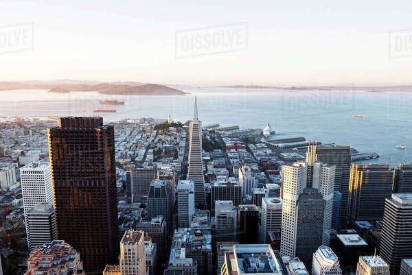 Aerial view of cityscape against clear sky Royalty-free stock photo