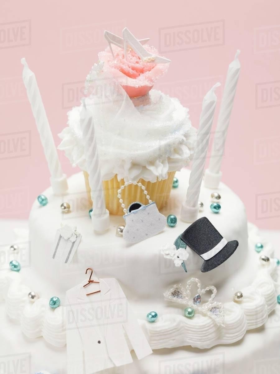Three-tiered wedding cake - Stock Photo - Dissolve