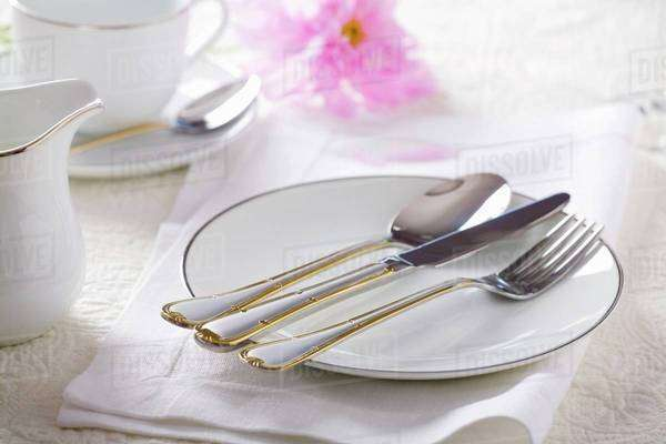 Gold-rimmed plate with cutlery Royalty-free stock photo