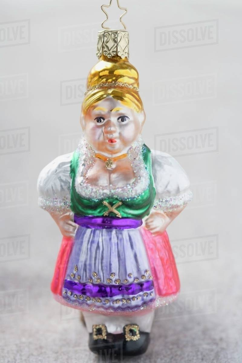 Christmas Tree Ornament From Bavaria Woman In Dirndl