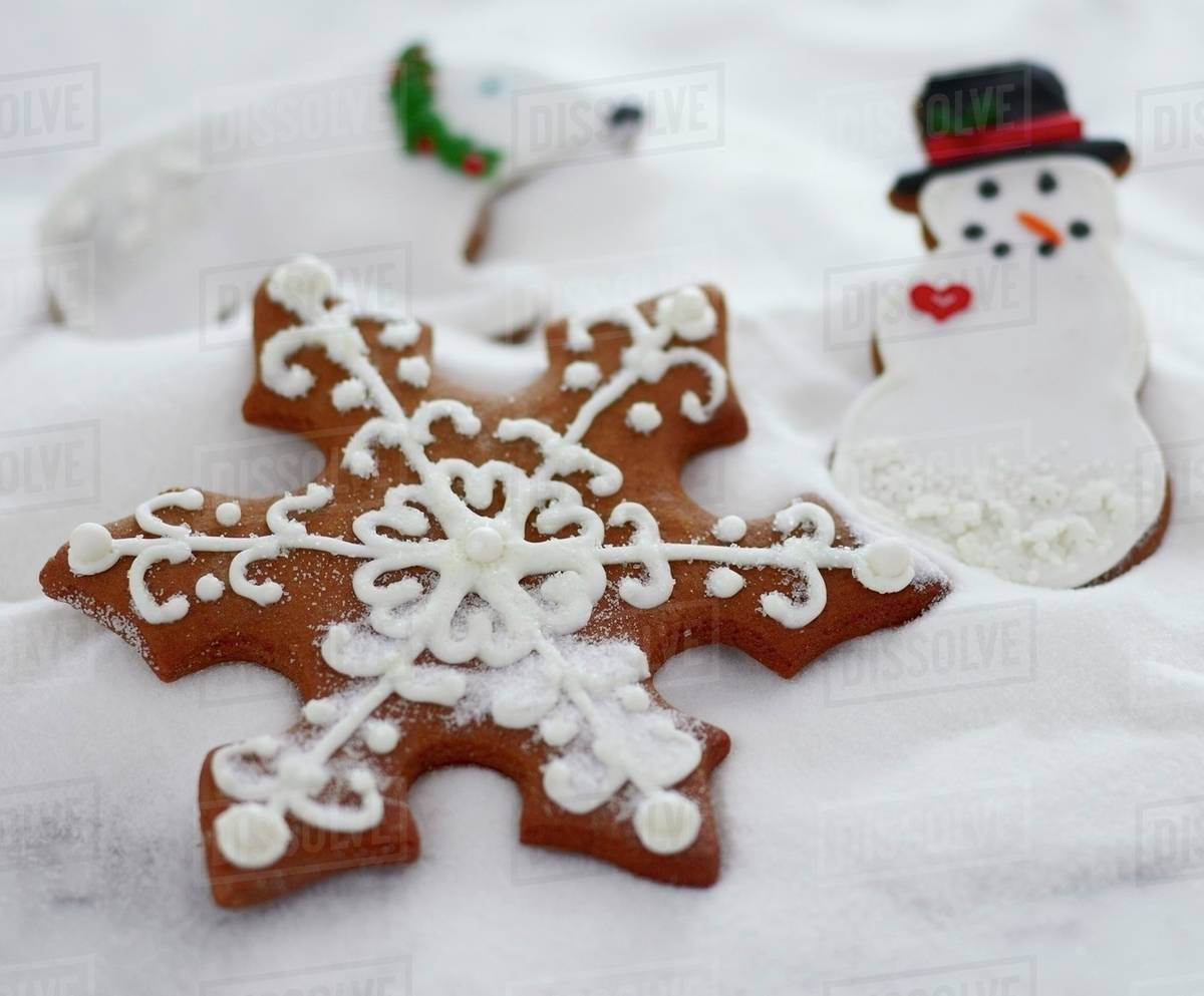 """Decorated Christmas Cookies in """"Snow"""" - Stock Photo - Dissolve"""