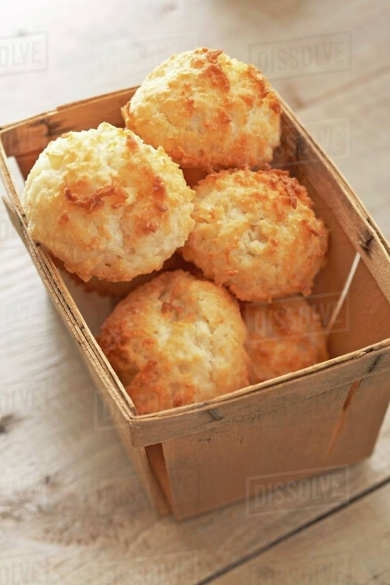Coconut Macaroons In A Wooden Box Stock Photo Dissolve