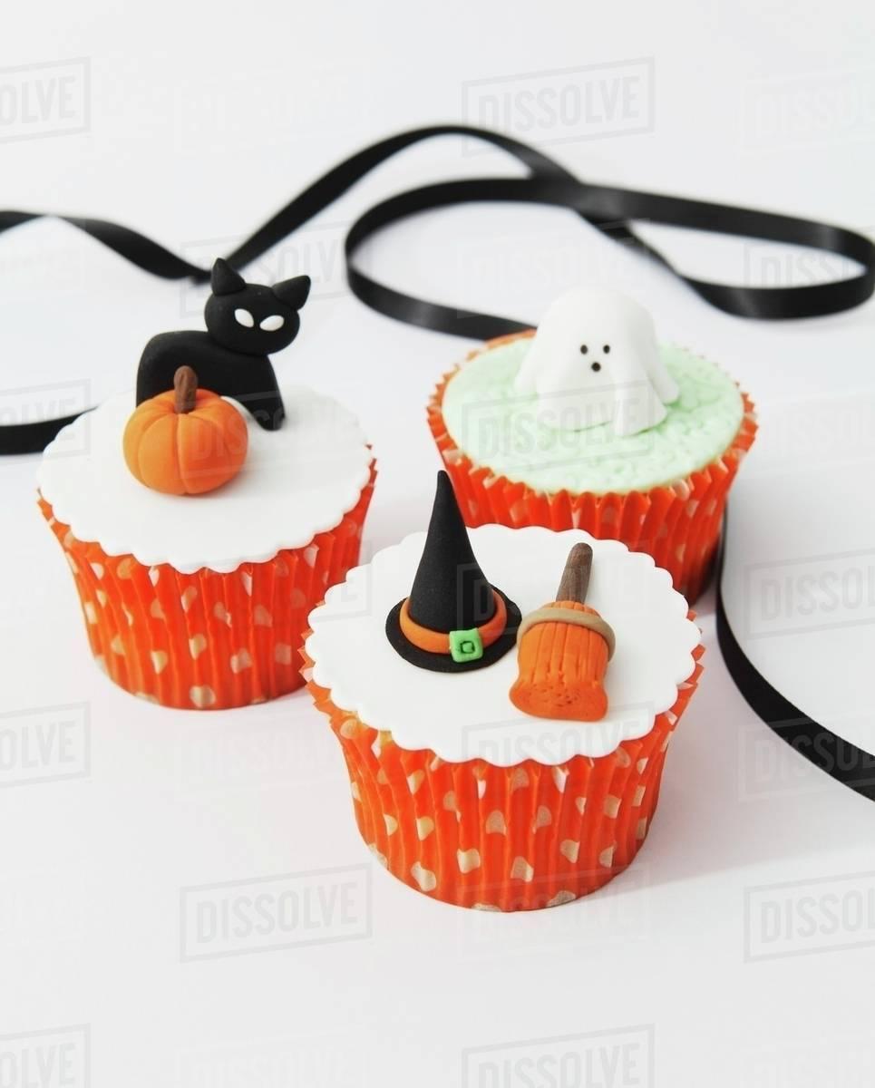 Fondant Halloween Decorations.Halloween Cupcakes With Fondant Icing Decorations Stock Photo Dissolve