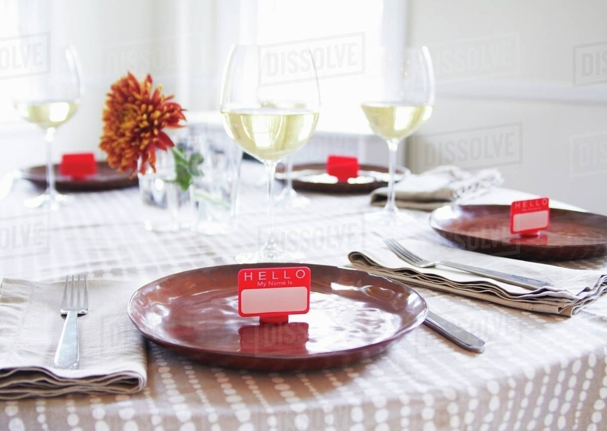 Table Set With Name Tag Place Settings White Wine