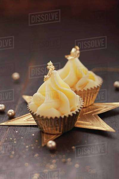 Christmas confectionery decorated with gold leaf Royalty-free stock photo